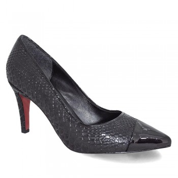 Kuum 6003 Yılan Deri Desenli Kadın Stiletto Ayakkabı