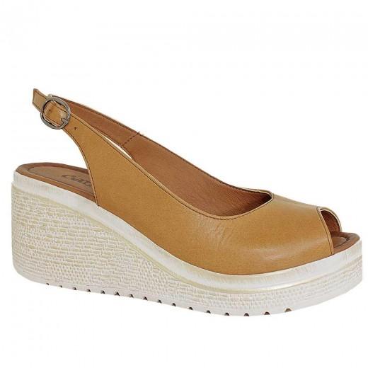 Stella 9713 Dolgu Topuk Deri Kadın Sandalet